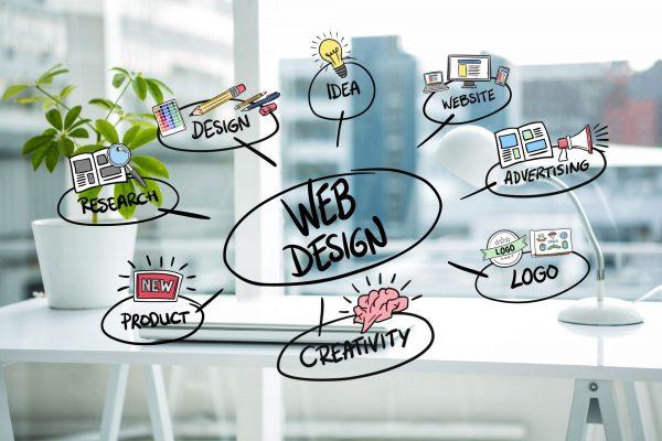 bulles avec concepts communication et web design